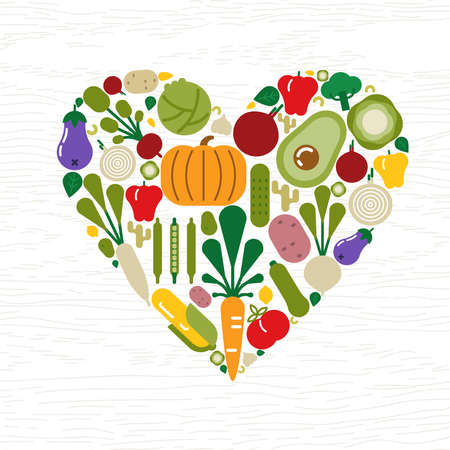 Vegetable icons making heart shape for healthy eating or organic food concept. Includes tomato, pumpkin, lettuce, carrot and more.