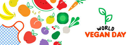 World vegan Day web banner illustration for special diet and healthy eating. Grocery bag with colorful flat cartoon icons. Includes vegetables, fruit, nuts.