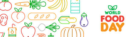 World Food Day web banner illustration for nutrition and healthy diet with colorful outline style icons. Includes vegetables, fruit, bread, meat.
