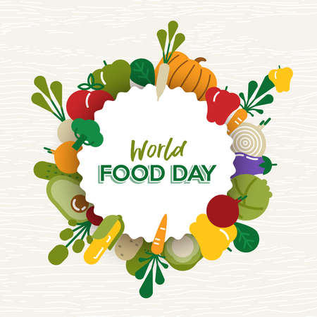 World Food Day greeting card illustration for nutrition and healthy diet with colorful flat cartoon vegetable icons.