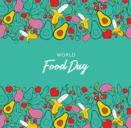 Food Day greeting card background with hand drawn fruit and vegetable icons. Healthy eating or balanced nutrition concept background.