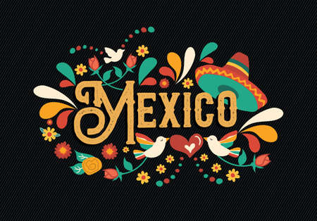 Mexico country typography illustration with traditional mexican culture decoration in hand drawn style for national event, party or festive celebration.