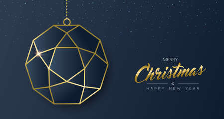 Merry Christmas and new year gold luxury holiday greeting card. Luxury xmas ornament bauble golden frame outline. EPS10 vector.