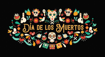 Day of the dead greeting card illustration in spanish language for traditional mexican culture holiday celebration with sugar skulls and mexico decoration.