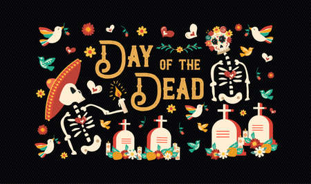 Day of the dead sugar skull banner for mexican celebration, traditional mexico skeleton decoration with typography and colorful art.