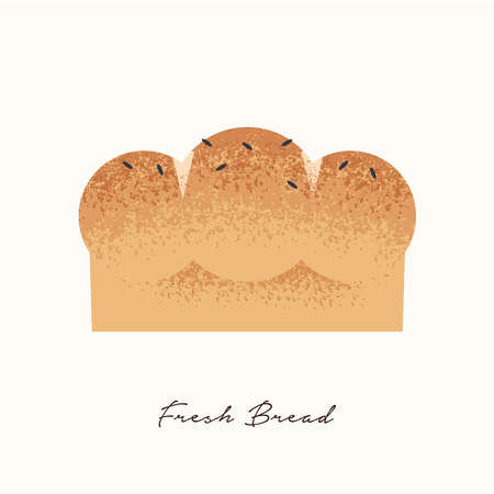 Fresh Bread illustration in hand drawn texture style with seeds for bakery, healthy nutrition or homemade food concept on isolated background.