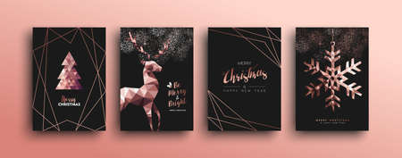 Merry Christmas pink copper template set with holiday reindeer and xmas bronze elements in triangle low poly style. Ideal for greeting card, poster, season sale campaign or web design. Standard-Bild - 111831999