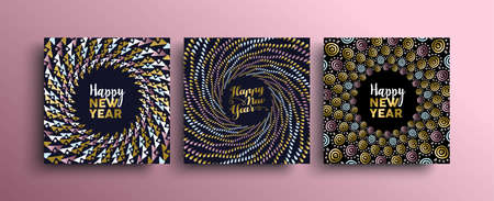 New Year gold template set with tribal boho elements in hand drawn style. Ideal for greeting card, poster or web. Illusztráció