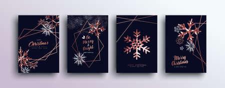 Plantilla de cobre rosa de feliz navidad con copos de nieve de invierno y elementos de bronce de navidad en estilo low poly. Ideal para tarjetas de felicitación, carteles o diseño web.