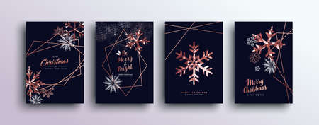 Merry christmas pink copper template set with winter snowflakes and xmas bronze elements in low poly style. Ideal for greeting card, poster or web design.
