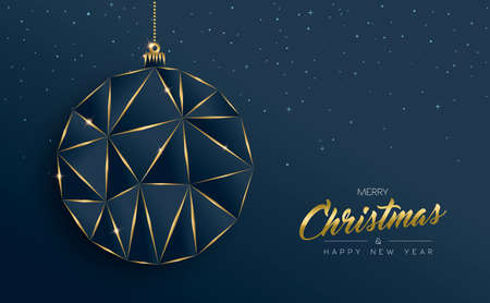Merry Christmas and new year gold luxury holiday greeting card. Luxury creative xmas ornament bauble made of golden frame outline.