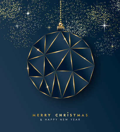 Merry Christmas and new year gold luxury holiday greeting card. Luxury creative xmas ornament bauble made of golden frame outline. EPS10 vector.