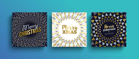 Merry christmas gold template set with tribal boho elements in hand drawn style. Ideal for greeting card, poster or web. Ilustrace