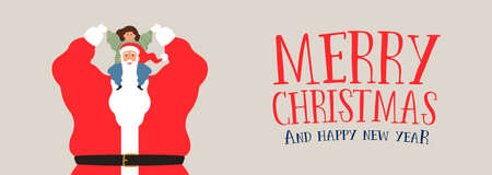 Merry Christmas and Happy New Year web banner illustration, santa claus playing with kid for holiday season greeting.