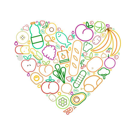 Heart shape with healthy eating food icons concept for balanced nutrition. Includes fruit, vegetables, meat, bread and dairy.
