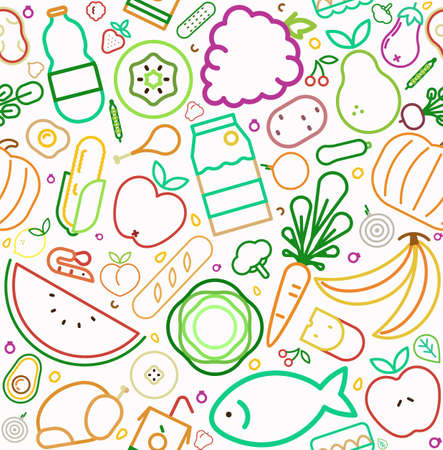 Food icon seamless pattern with colorful line style symbols. Healthy eating or balanced nutrition concept background. Includes fruit, vegetables, meat, bread and dairy.