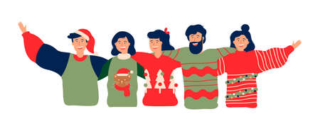 Diverse friend group in christmas season, young people hugging together with winter clothes for holiday party. Girls and boys team hug on isolated background, web banner format.