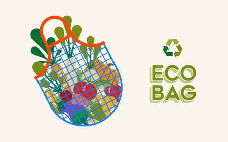 Eco bag illustration for ecology and environment care concept with vegetable grocery icons inside. EPS10 vector.