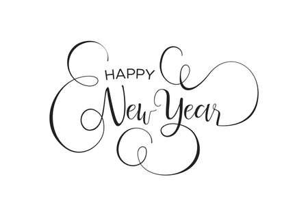 Szczęśliwego nowego roku kaligraficzna kartkę z życzeniami lub ilustracja zaproszenie na przyjęcie, odręczny cytat tekstu typografii. Eleganckie tło wiadomości wakacje.