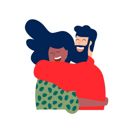 Two friends or romantic couple hugging and smiling together in christmas winter clothes. Diverse happy people relationship illustration on isolated background. Çizim