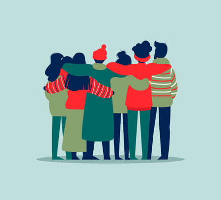 Diverse friend group of people hugging together in winter clothes for christmas or seasonal celebration. Girls and boys team hug on isolated background with copy space.