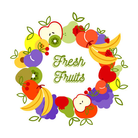 Fresh fruit creative illustration menu background for nutrition and healthy food diet with colorful outline style icons. Includes apple, banana, peach, orange.