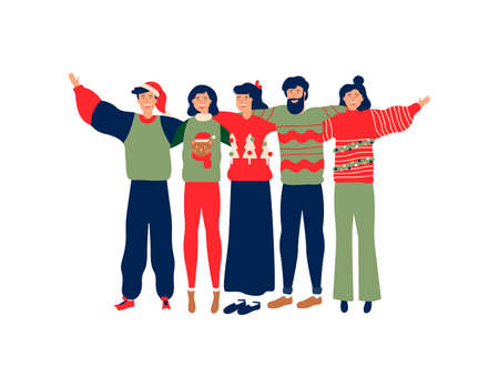 Diverse friend group in christmas season, young people hugging together with winter clothes for holiday celebration. Girls and boys team hug on isolated background, includes copy space. Ilustracja
