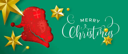 Merry Christmas web banner illustration. Paper cut santa claus head silhouette cutout in festive holiday colors. Layered effect design with gold stars and xmas typography quote. Standard-Bild - 113542993
