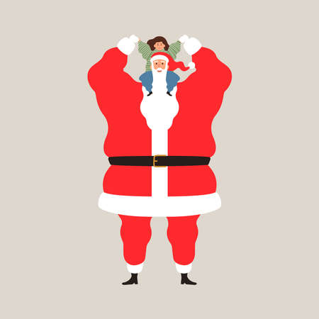 Christmas season characters, happy Santa Claus holding little girl on isolated background for holiday celebration. Flat cartoon illustration. Foto de archivo - 113542999