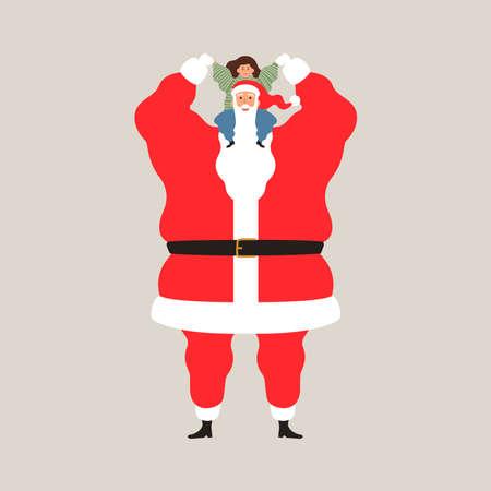 Christmas season characters, happy Santa Claus holding little girl on isolated background for holiday celebration. Flat cartoon illustration.