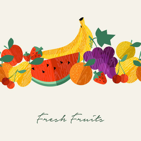 Fresh organic fruits menu illustration background for nutrition and healthy food diet with colorful flat icons. Includes apple, banana, watermelon, orange.