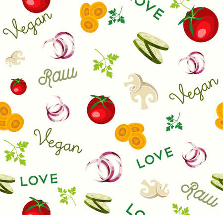 Vegan Raw food seamless pattern for nutrition and healthy diet with colorful flat vegetable icons. 向量圖像
