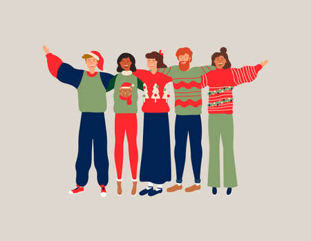 Diverse friend group in christmas season, young people hugging together with winter clothes for holiday celebration. Girls and boys team hug on isolated background, includes copy space. Illustration