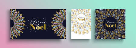 Marry Christmas gold template set in french language with tribal boho elements of hand drawn style. Ideal for greeting card, poster or web. Фото со стока - 110988496