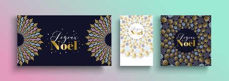 Trouw met kerst gouden sjabloon in de Franse taal met tribal boho-elementen van handgetekende stijl. Ideaal voor wenskaart, poster of web.