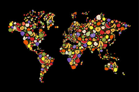 World map made of flat cartoon fruit menu icons for global concept or healthy diet awareness. Illustration