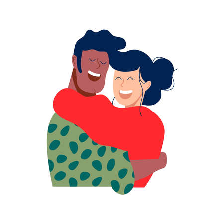 Two friends or romantic couple hugging and smiling together in christmas winter clothes. Diverse happy people relationship illustration on isolated background. Иллюстрация