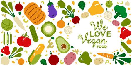 Ilustración de tarjeta de felicitación de comida vegana para una dieta orgánica y saludable con coloridos iconos vegetales de dibujos animados planos.