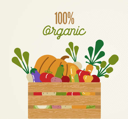 Organic food concept illustration for healthy diet with colorful flat cartoon vegetables inside wood crate. Ilustração