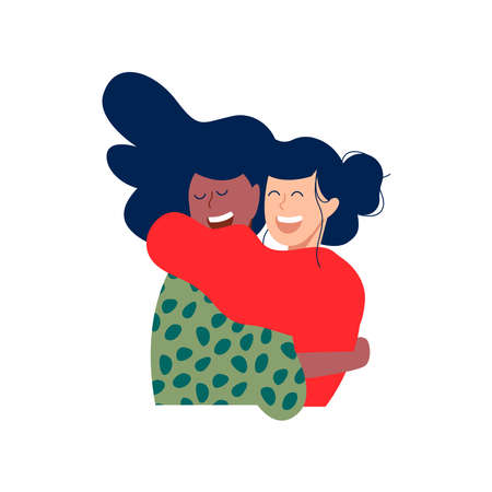 Two woman friends hugging and smiling together in christmas winter clothes. Diverse happy women friend illustration on isolated background.