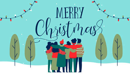 Merry Christmas greeting card illustration of young people friend group hugging together at holiday winter party. Diverse social friends team from different cultures celebrating.