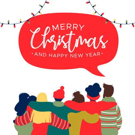 Ilustración de tarjeta de felicitación de feliz Navidad y próspero año nuevo con un grupo diverso de amigos de jóvenes abrazándose juntos para la celebración navideña.