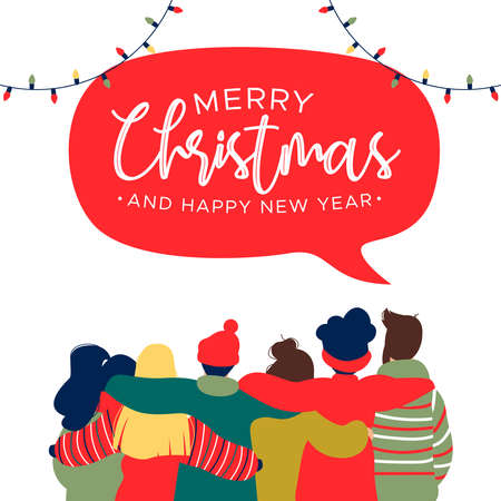 Merry Christmas and Happy New Year greeting card illustration with diverse friend group of young people hugging together for holiday celebration.
