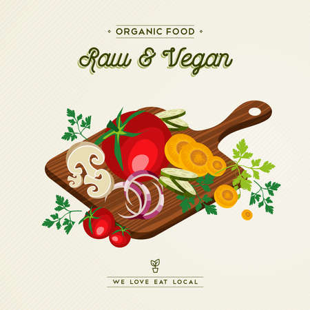 Raw and vegan concept illustration for organic food. Healthy diet with colorful flat cartoon vegetable ingredients. Includes tomato, carrot, onion, mushroom. Standard-Bild - 113543026