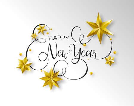 Felice anno nuovo biglietto di auguri calligrafico o illustrazione di invito a una festa, citazione di testo tipografia scritta a mano con stelle d'oro 3d festive. Elegante sfondo del messaggio di vacanza. Vettoriali