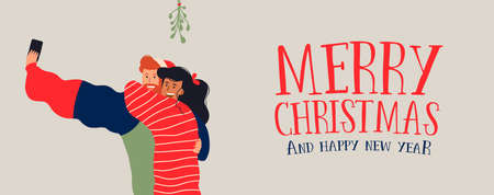 Merry Christmas and Happy New Year web banner illustration, millennial couple taking selfie under the mistletoe. Young people posting special moment on social media.