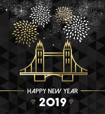 Happy New Year 2019 London greeting card with England landmark tower bridge in gold outline style.