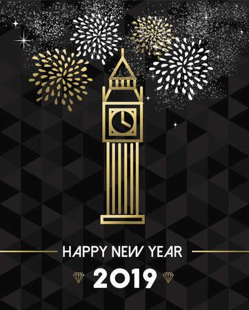 Happy New Year 2019 London greeting card with england monument big ben clock in gold outline style.