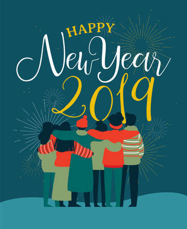 Happy New Year 2019 greeting card illustration of young people friend group hugging together with fireworks in night sky. Diverse culture friends team celebrating.