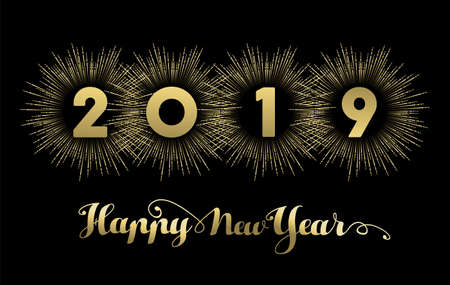 Happy new year 2019 golden banner design, gold text with fireworks explosion decoration.